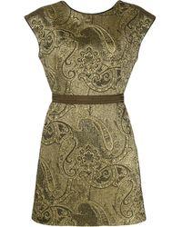 Etro Платье С Вышитым Узором Пейсли - Зеленый