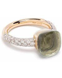 Pomellato Anello Nudo in oro rosa e bianco 18kt con diamanti e prasiolite - Verde