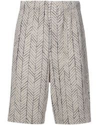 Homme Plissé Issey Miyake - Embroidered Knee-length Shorts - Lyst