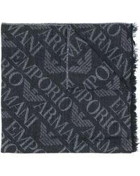 Emporio Armani Ausgefranster Schal mit Logos - Schwarz