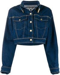 Versace Jeans クロップド デニムジャケット - ブルー