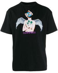 Palm Angels T-shirt Met Print - Zwart