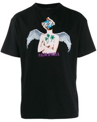 Palm Angels T-shirt Met Print - Zwart