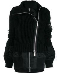 Sacai Hybrid Knit Bomber Jacket - Black