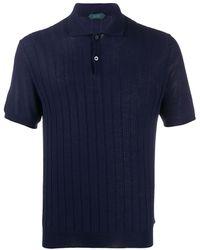 Zanone Ribbed Polo Shirt - Blue