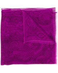 Etro Paisley-print Silk Scarf - Purple