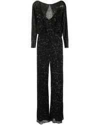 Jenny Packham Babette Sequin Embroidered Jumpsuit - Black