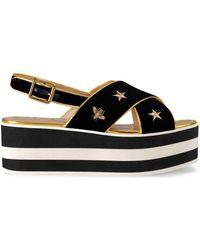 Gucci - Embroidered Velvet Crossover Platform Sandal - Lyst