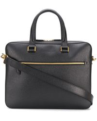 Ferragamo Logo Embossed Business Bag - Black