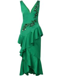 Marchesa notte Embroidered Midi Dress - Groen