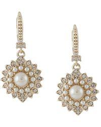 Marchesa notte Pearl-embellished Drop Earrings - Metallic