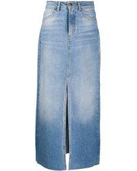 Pinko Langer Jeansrock - Blau