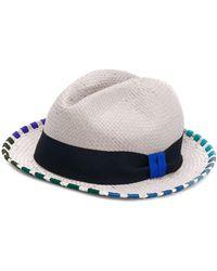 Paul Smith Striped Trim Sun Hat - Gray