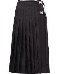 Prada バックル プリーツ スカート - ブラック