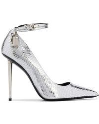 Tom Ford Laminated Python Padlock Court Shoes - Metallic