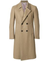 Thom Browne Melton Wool Pintuck Bal Collar Overcoat - Neutro
