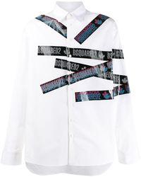 DSquared² Camisa con logo en contraste - Blanco