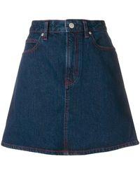 Calvin Klein Jeans - Overstitched A-line Denim Skirt - Lyst