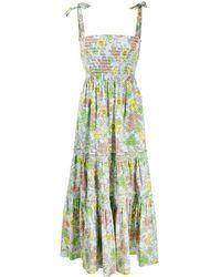 Tory Burch Ярусное Платье С Цветочным Принтом - Синий