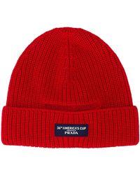Prada Ribbed-knit Beanie - Red