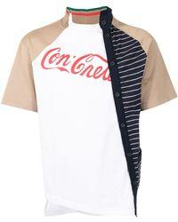 Kolor Contrast-panel Cotton T-shirt - White