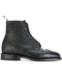 Thom Browne ウィングチップ ブローグブーツ ブラック ペブルグレインレザー