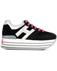 Hogan Zapatillas con cordones y logo - Negro