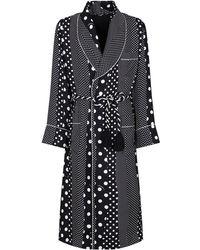 Dolce & Gabbana Morgenmantel aus Seide mit Polka Dots - Schwarz