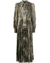 MSGM Плиссированное Платье Со Змеиным Принтом И Завязками - Многоцветный