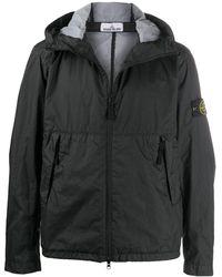 Stone Island Куртка С Капюшоном И Жатым Эффектом - Черный
