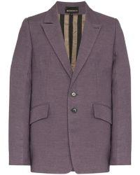 Ann Demeulemeester - Purple Boxy Wool And Cotton Blazer Jacket - Lyst
