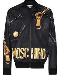 Moschino ロゴ ボンバージャケット - ブラック