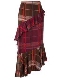 À La Garçonne Twill Edimburgo Midi Skirt - Red