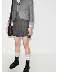 Thom Browne Dropped Back Mini Pleated Skirt - Серый