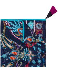 Etro Pañuelo con motivo floral y con borlas - Azul
