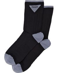 Prada Jacquard Triangle Logo Socks - Zwart