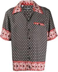 Dolce & Gabbana シルクツイルボウリングシャツ - ブラック