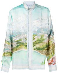 CASABLANCA Camisa de seda con estampado Dalmatian a la Montagne - Azul