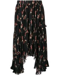 Isabel Marant Floral Print Pleated Midi Skirt - Zwart