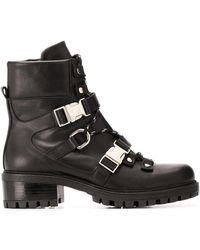 Albano Buckle Fastened Military Boots - Black