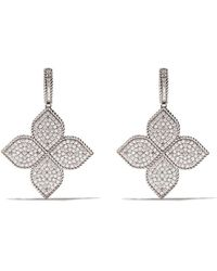 Roberto Coin 18kt White Gold Princess Flower Diamond Earrings - Metallic