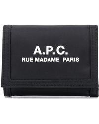 A.P.C. ロゴ 財布 - ブラック
