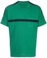 Sacai - Stripe Detail T-shirt - Lyst