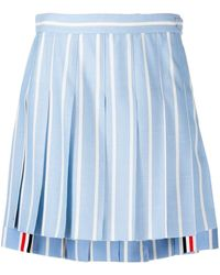 Thom Browne ストライプ プリーツミニスカート - ブルー