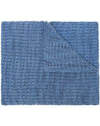 The Elder Statesman Gerippter Schal mit Logo - Blau