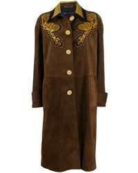 Versace Embroidered Leather Coat - Multicolor