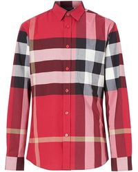 Burberry Check Stretch-cotton Shirt - Red