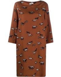 Altea Horse-print Midi Dress - Brown