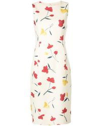 Oscar de la Renta Watercolour Poppies Dress - White