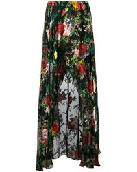 Alice + Olivia - Floral Print High Low Skirt - Lyst
